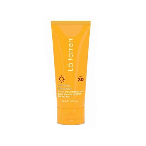 کرم ضد آفتاب و ضد لک بدون رنگ لافارر با SPF30 مخصوص پوست های چرب و مستعد آکنه